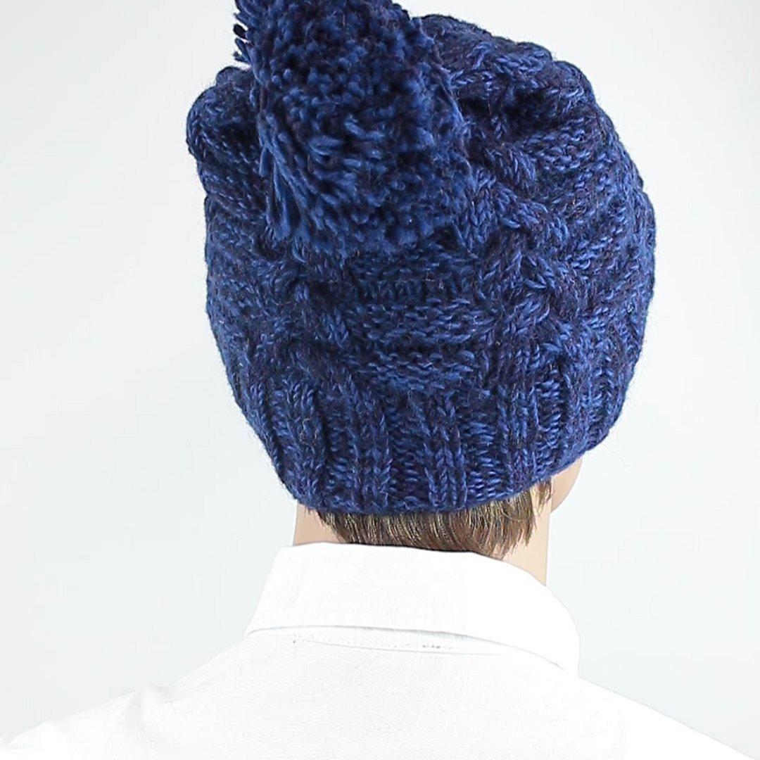 Foto 3: Blau-melange Schafwollmütze mit Innenfutter
