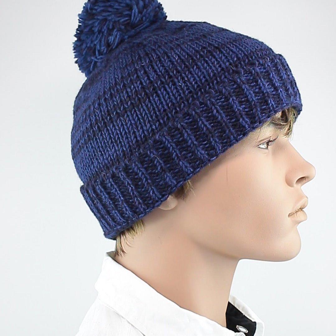 Foto 2: Mütze aus Wolle in klassischem Pudelmützenblau