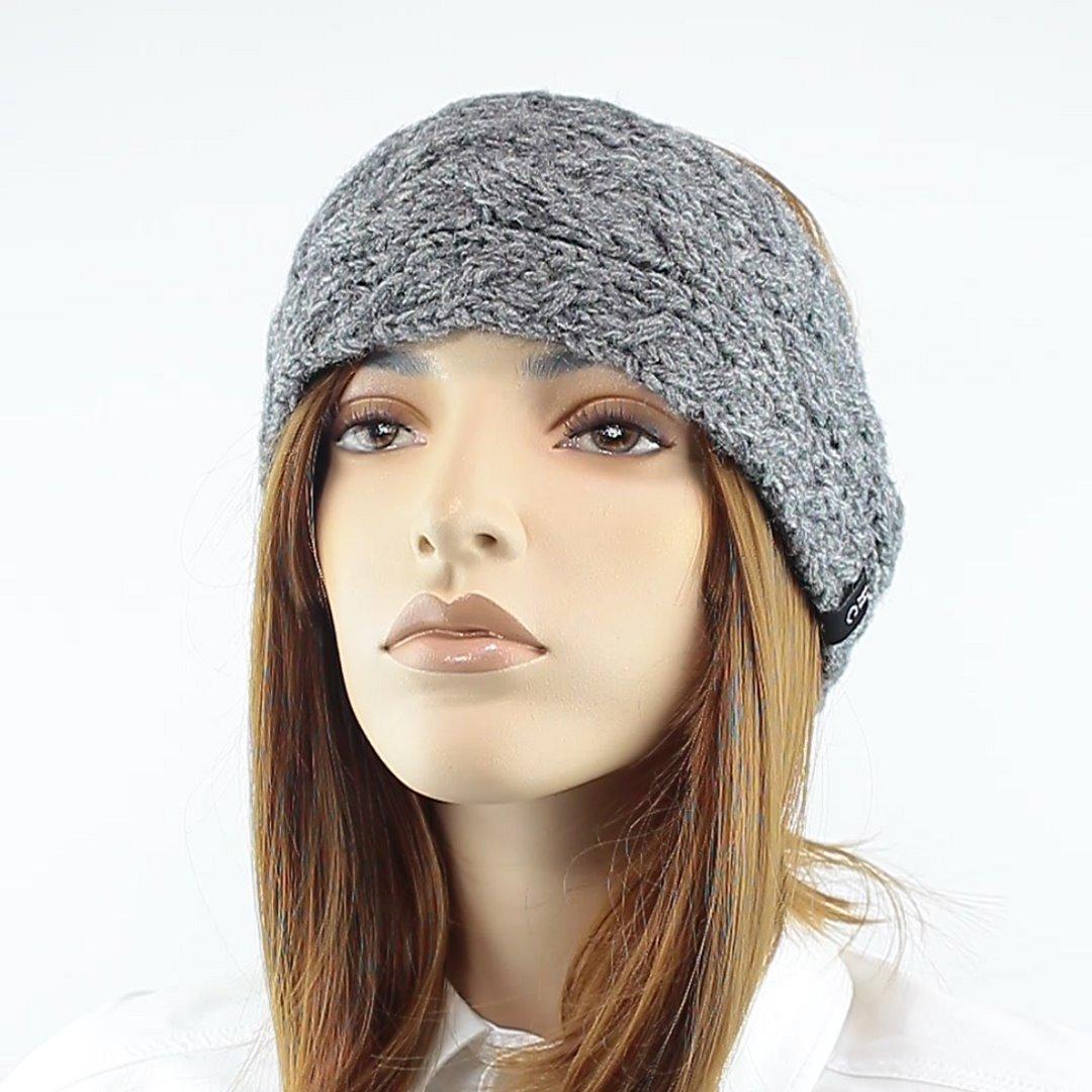 Foto 1: Zopfmuster-Stirnband grau meliert