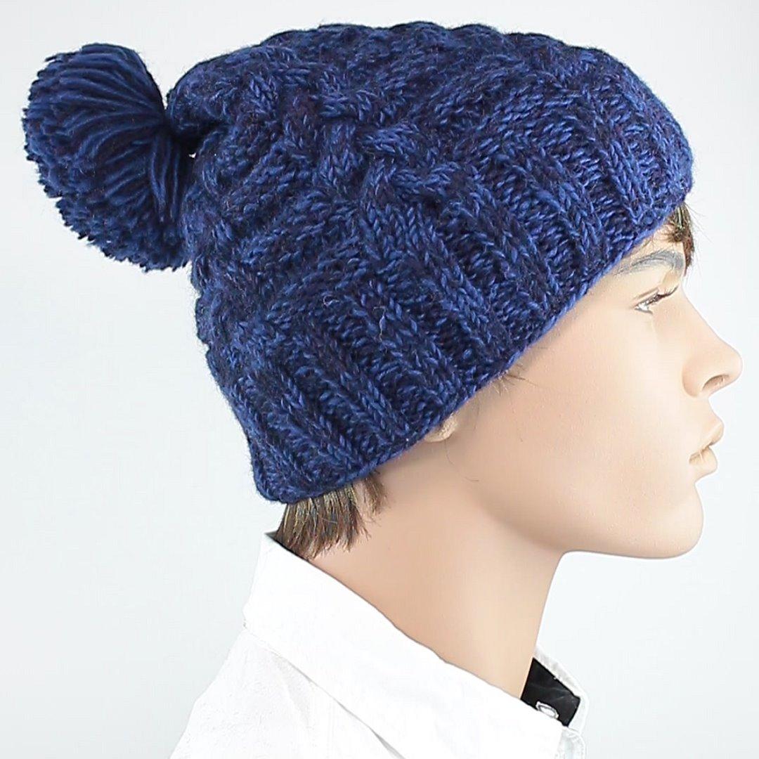 Foto 2: Blau-melange Schafwollmütze mit Innenfutter