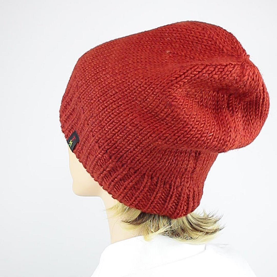 Foto 4: Beanie-Wollmütze in der Farbe Rot/Orange