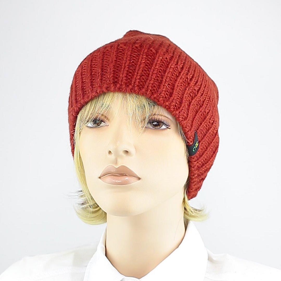 Foto 1: Beanie-Wollmütze in der Farbe Rot/Orange