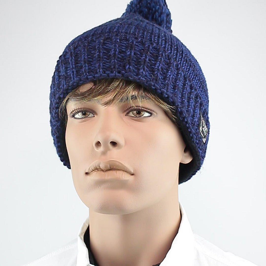 Foto 1: Mütze aus Wolle in klassischem Pudelmützenblau