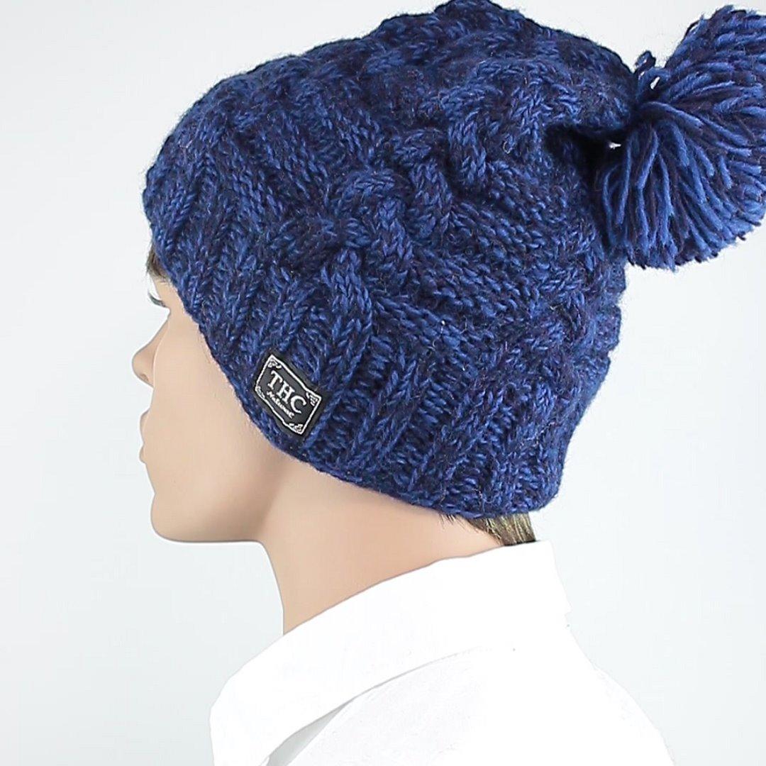 Foto 4: Blau-melange Schafwollmütze mit Innenfutter