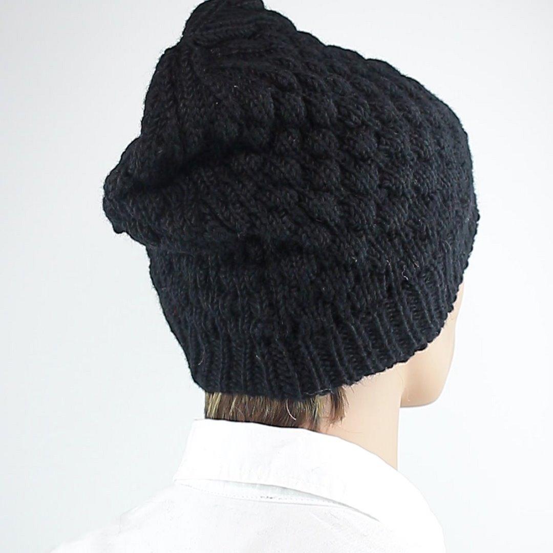 Foto 3: Schwarze Beanie-Wintermütze aus Wolle