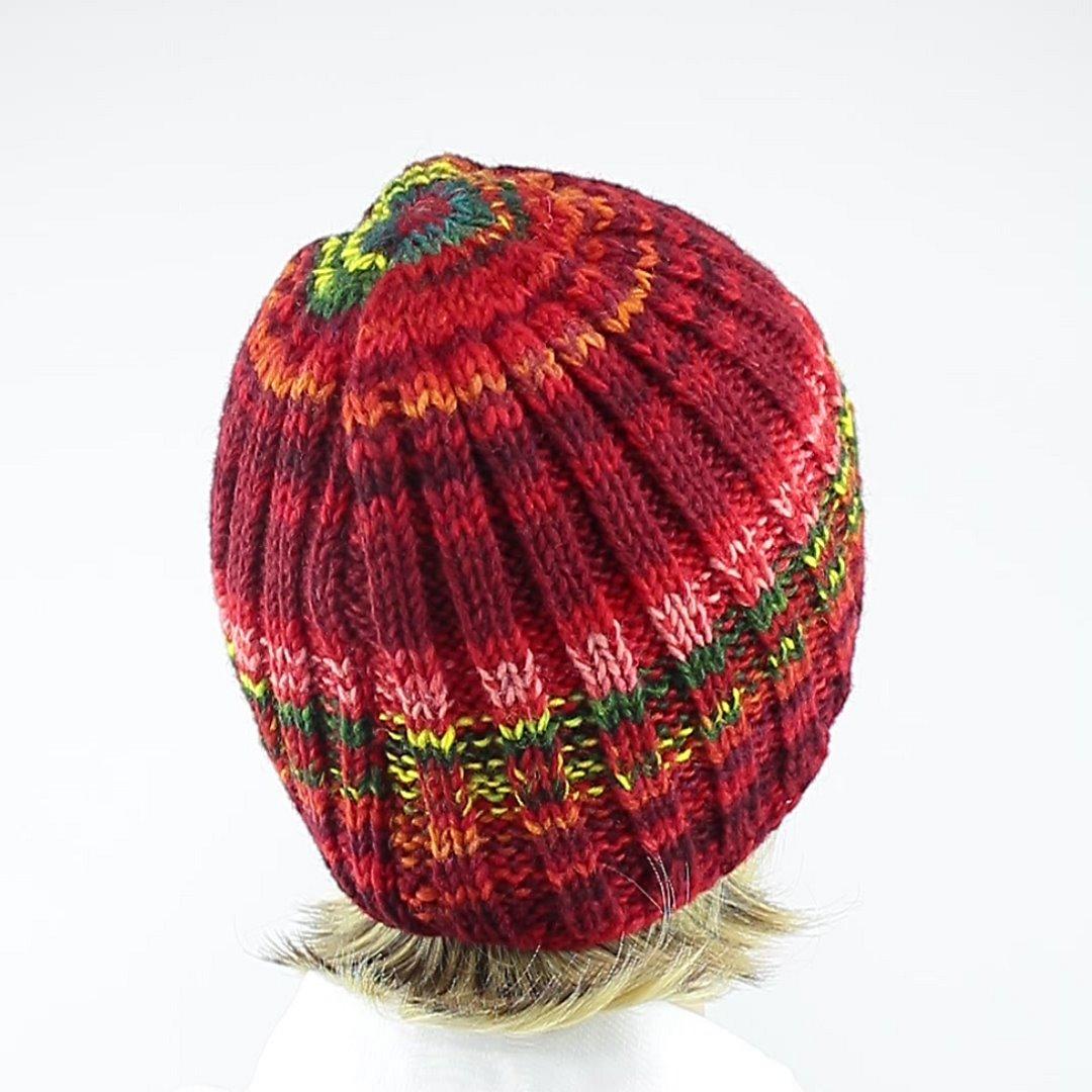 Foto 3: Bequeme Wollmütze in rot-melange