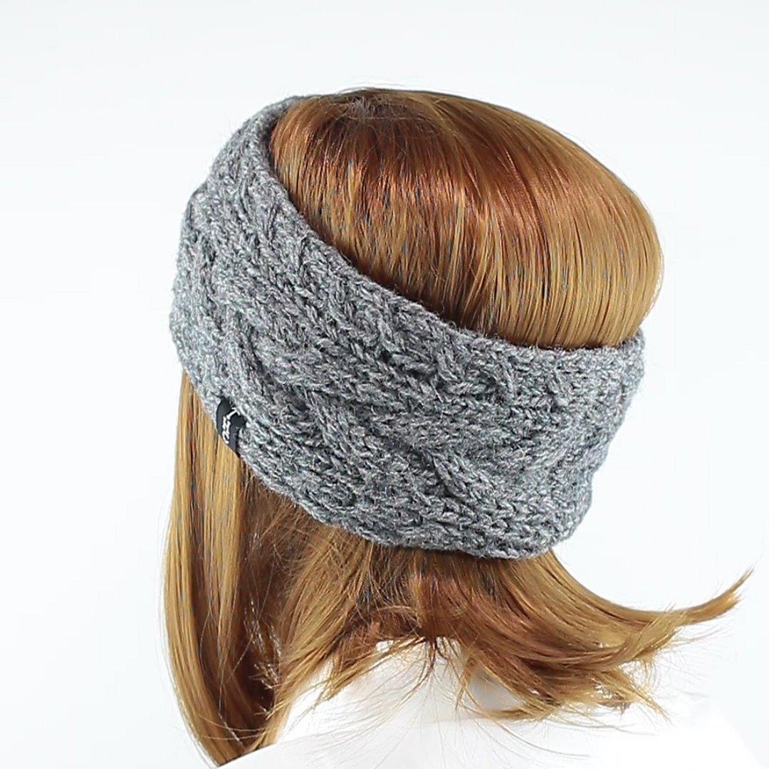 Foto 4: Zopfmuster-Stirnband grau meliert