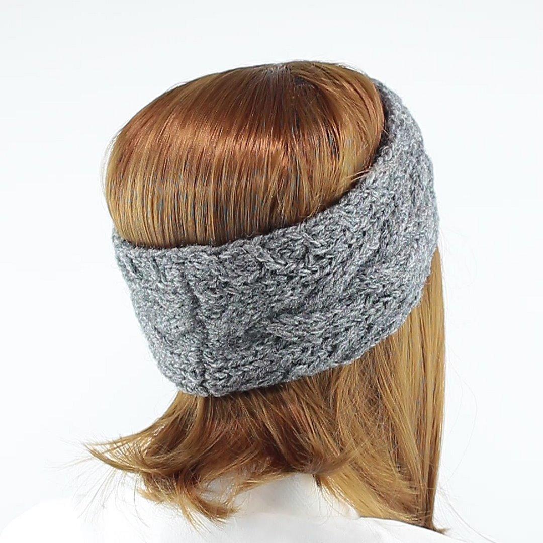 Foto 3: Zopfmuster-Stirnband grau meliert