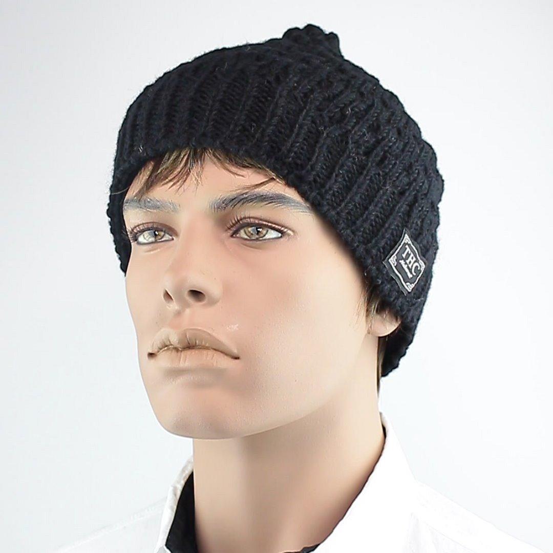 Foto 1: Schwarze Beanie-Wintermütze aus Wolle