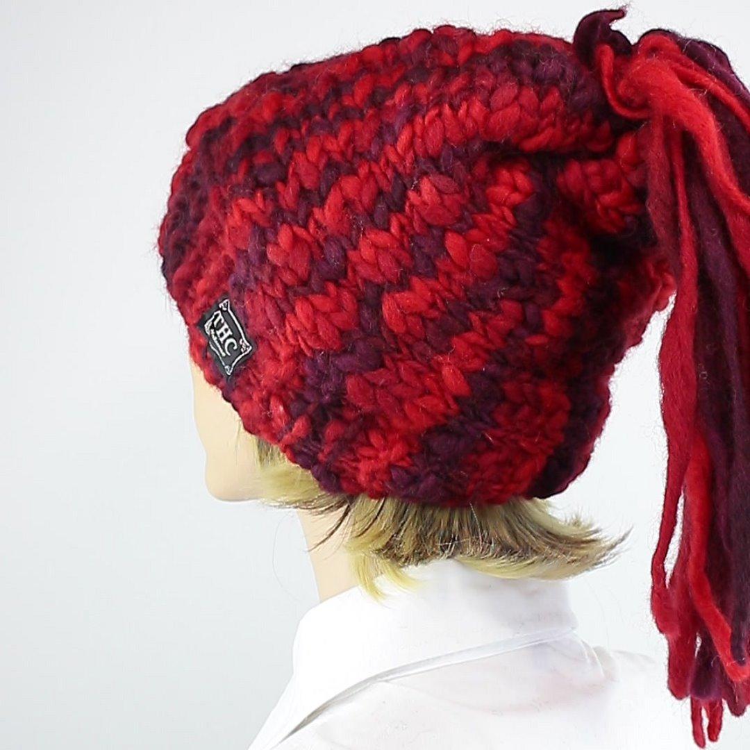 Foto 4: Rote Beanie-Wollmütze